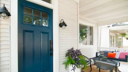 installed exterior light fixture on porch